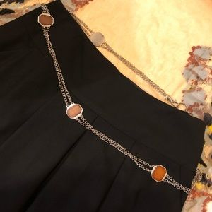 CHAIN BELT ADJUSTABLE SILVER/WOOD